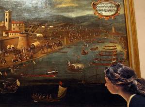 Cuadro de Pere Oromig y Francisco Peralta (1613) de la expulsión de los moriscos en Vinaròs que se muestra en una exposición de la Universidad de Valencia. .